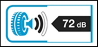 Label indicating a tyre's exterior rolling noise rating